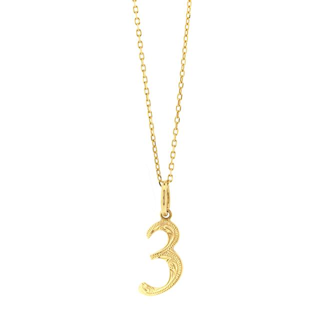 Days Necklace K10YG ハワイアンジュエリー ナンバーネームネックレス 数字 ペンダントトップ