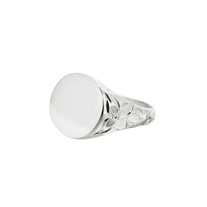 Round Seal Ringハワイアンジュエリー シグネットリング 指輪