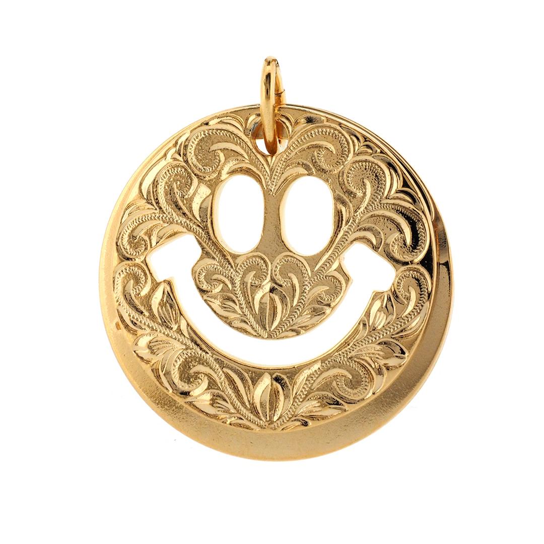 Smile key holder Gold  ハワイアンジュエリー スマイルキーホルダー ニコちゃんマーク
