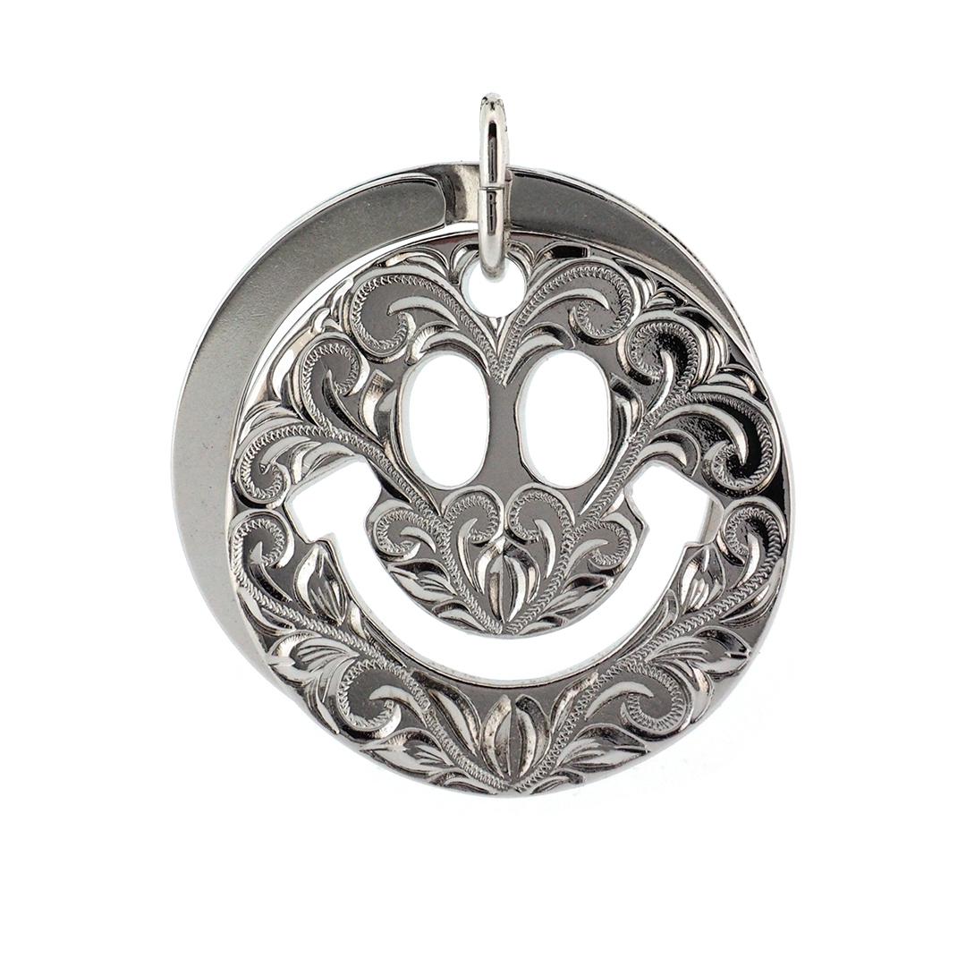 Smile key holder Silver  ハワイアンジュエリー スマイルキーホルダー ニコちゃんマーク