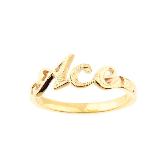 Grateful Name Ring K18YG ハワイアンジュエリー ネームリング 指輪