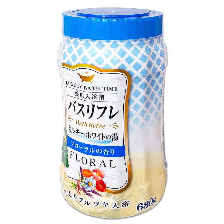 バスリフレ ミルキーホワイトの湯 フローラルの香り 薬用入浴剤 ローヤルゼリーエキス配合 680g しっとりプルツヤ入浴