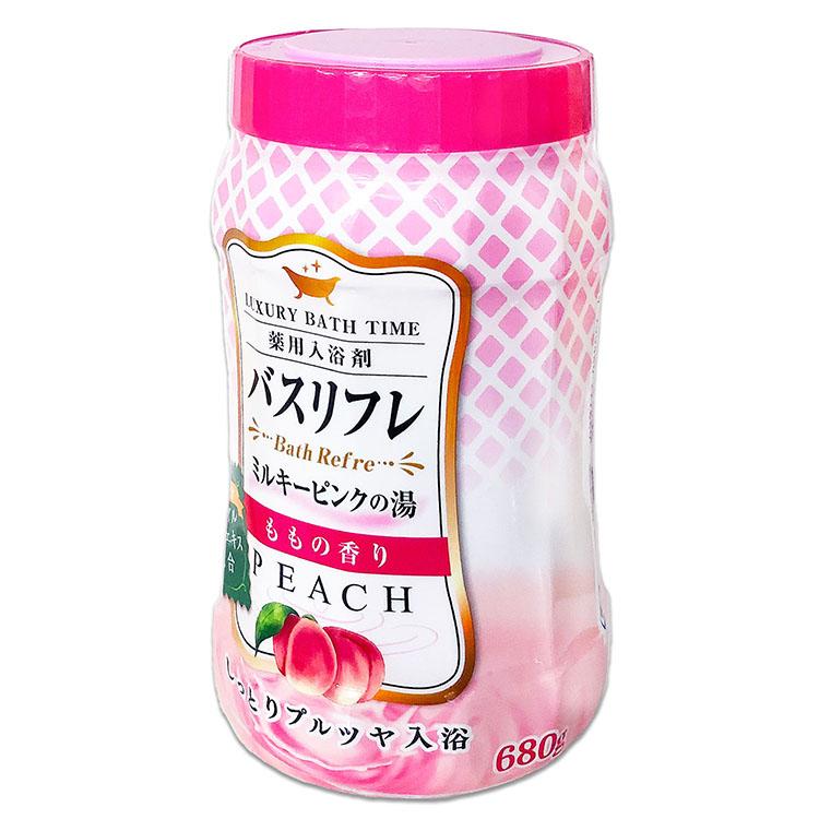 バスリフレ ミルキーピンクの湯 ももの香り 薬用入浴剤 ローヤルゼリーエキス配合 680g しっとりプルツヤ入浴