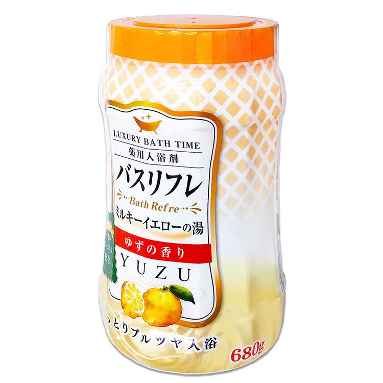 バスリフレ ミルキーイエローの湯 ゆずの香り 薬用入浴剤 ローヤルゼリーエキス配合 680g しっとりプルツヤ入浴