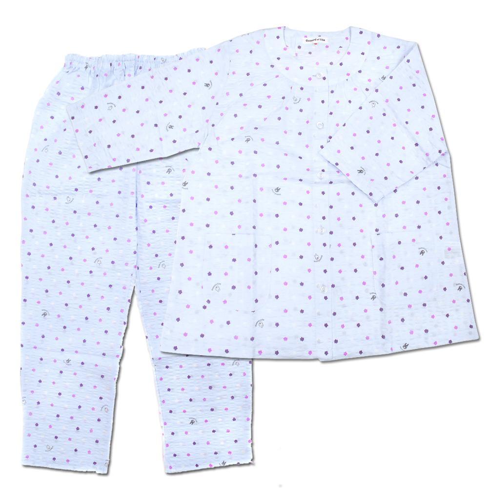 【生産終了品】LIP-1532-41 7分袖パジャマ わたがし水玉(ブルー/レディースM)  LG