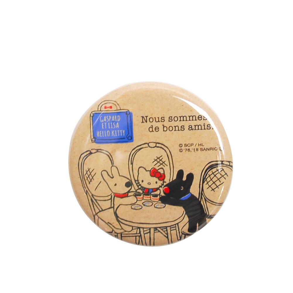 【ハローキティ×リサとガスパール】缶バッジ(ティータイム) KT-1989 LG