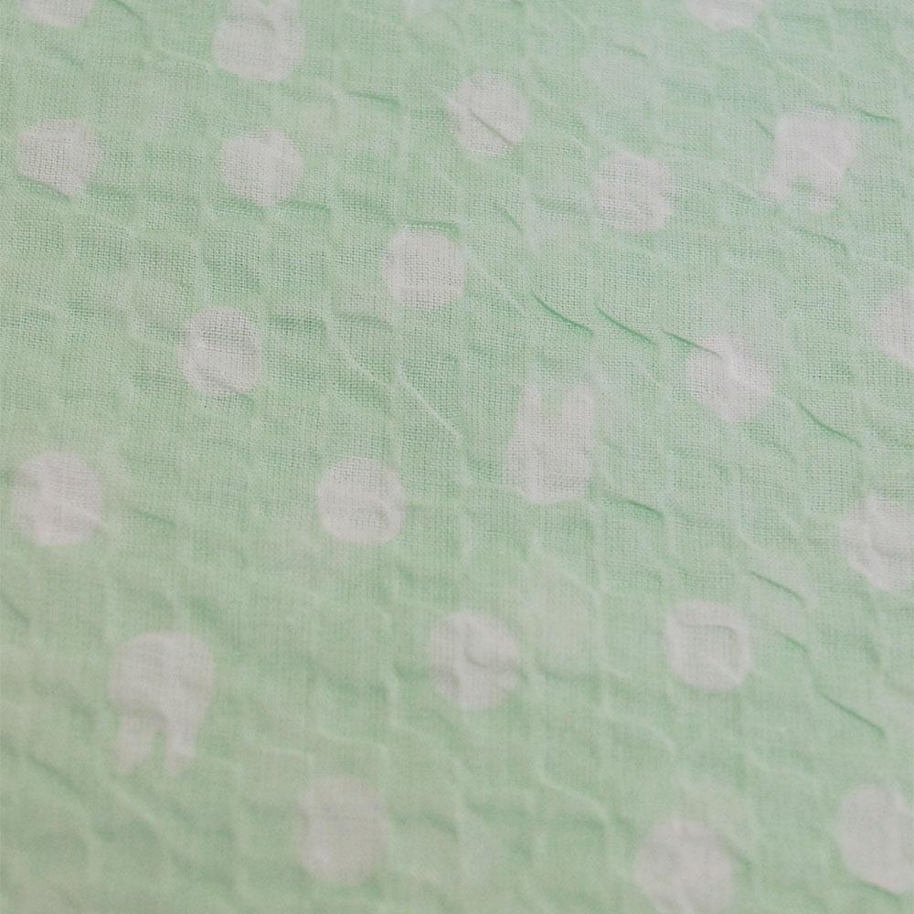 【生産終了品】前開き8分袖パジャマ 水玉(グリーン)レディースM  LIP1692-30 LG