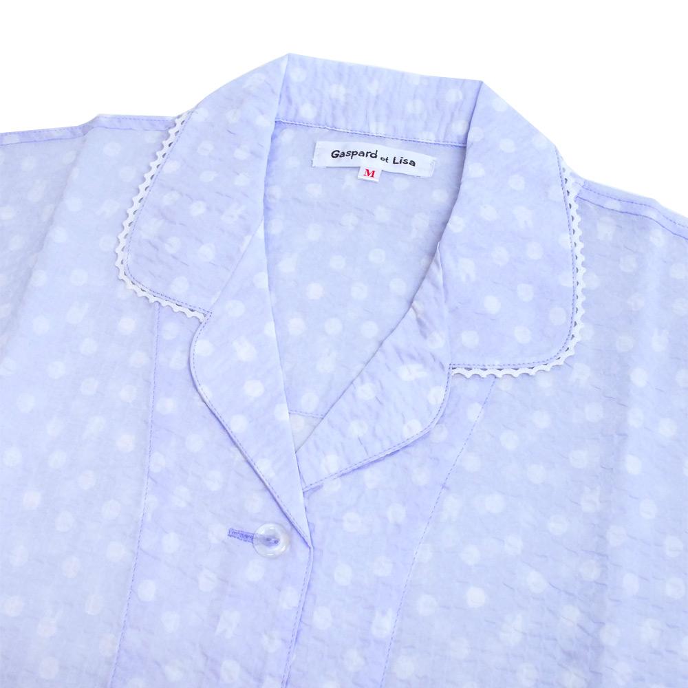【生産終了品】前開き8分袖パジャマ 水玉(ブルー)レディースM  LIP1692-41 LG