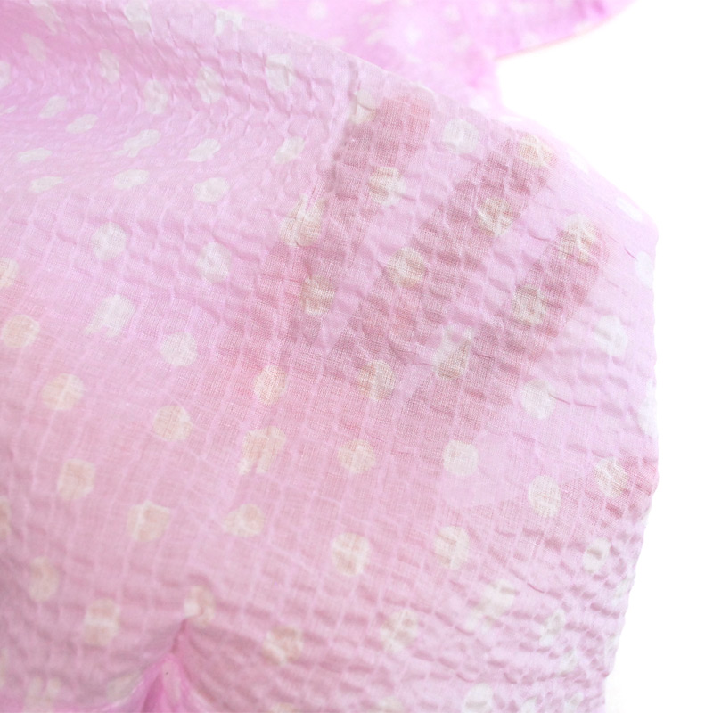 【生産終了品】前開き8分袖パジャマ 水玉(ピンク)レディースM  LIP1692-91 LG