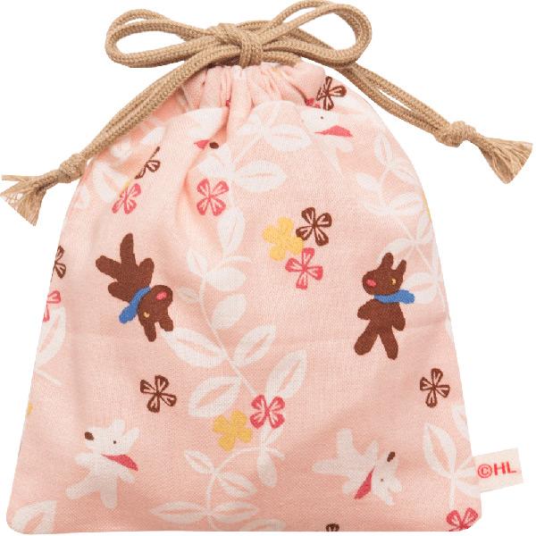 【濱文様コラボ】巾着小(アイビーフラワー)ピンク 93751 LG