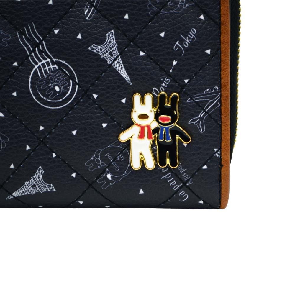 二つ折り財布(総柄キルトラウンド)ブラック GL-0063 LG