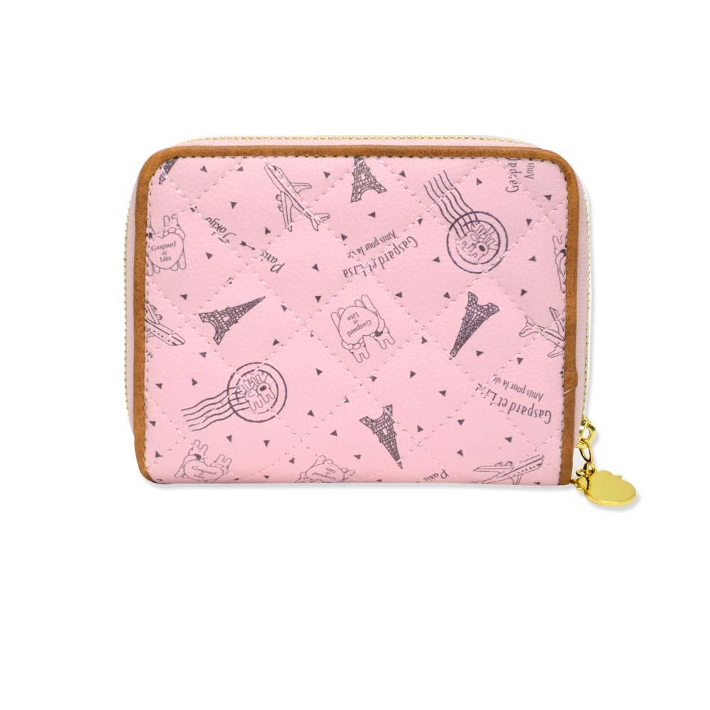 二つ折り財布(総柄キルトラウンド)ピンク GL-0063 LG