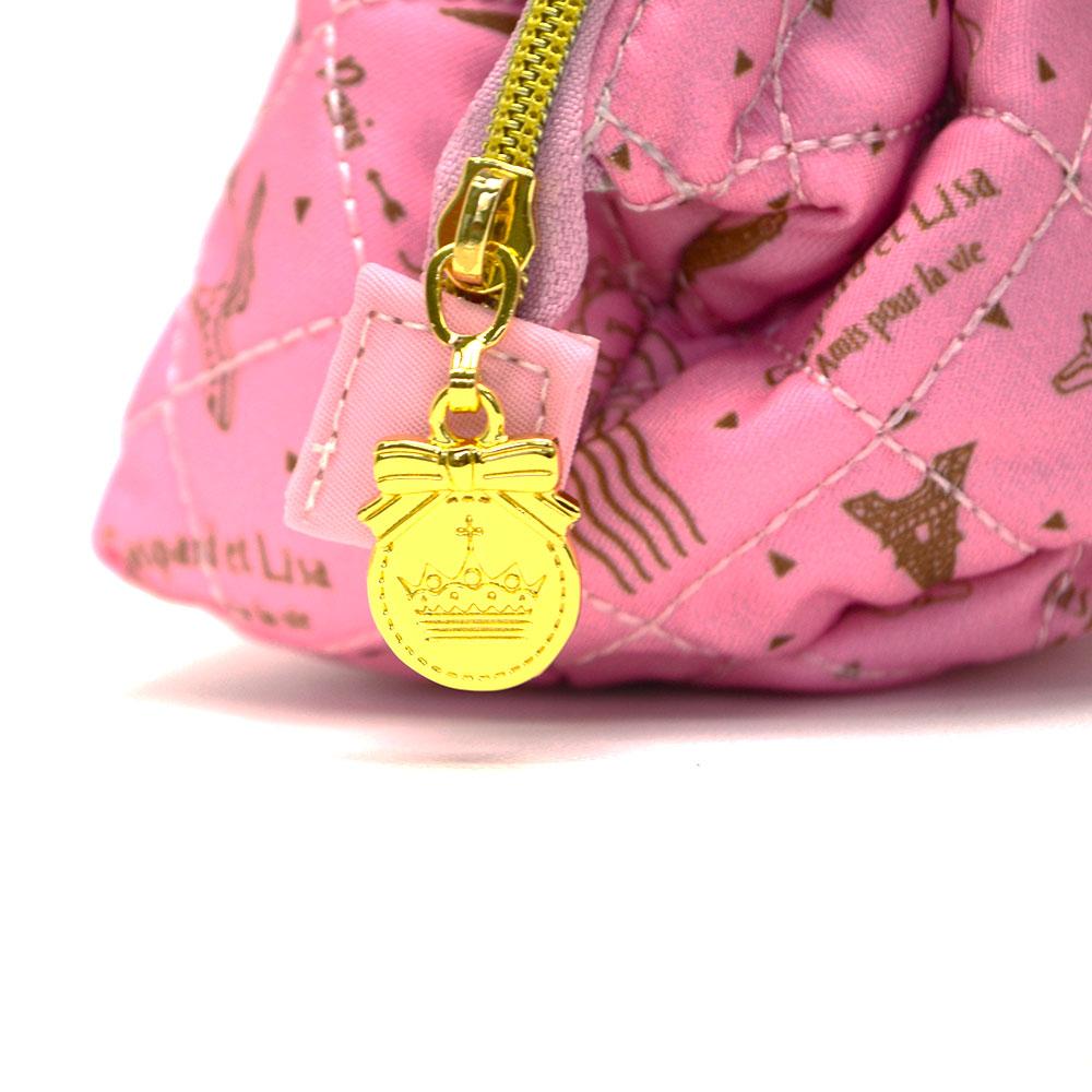 ワイヤーポーチ(総柄キルト)ピンク GL-0064 LG