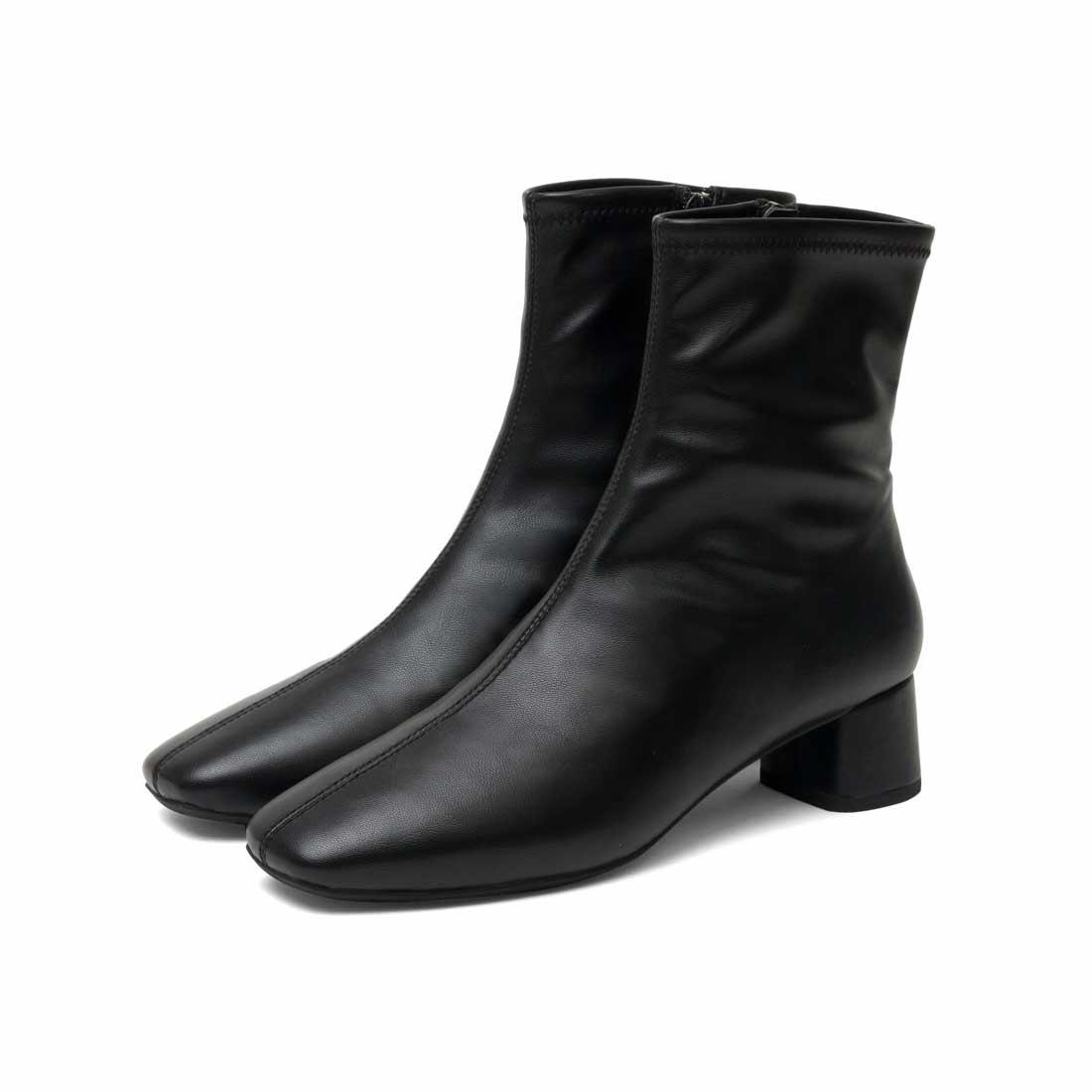 スクエアショートブーツ 太めヒール4cm ブラック