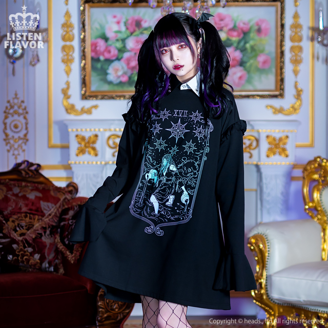 星の導きタロットフリルワンピ 【BLACK×AURORA】/リッスンフレーバー [原宿系ファッション]