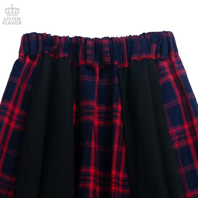 チュール切替レイヤードマキシスカート 【RED CHECK】/リッスンフレーバー