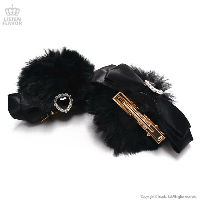 ふわふわくま耳クリップ 【BLACKxBLACK】/Kuuai