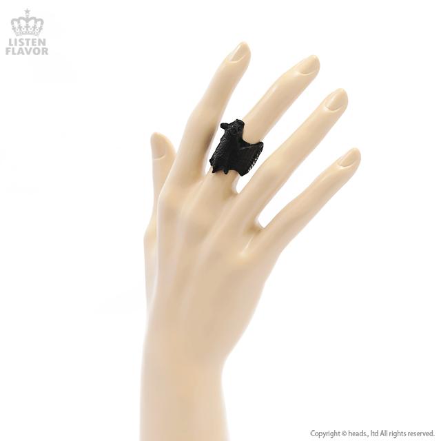 ヴィンテージコウモリリング【ブラック】[原宿系ファッション]