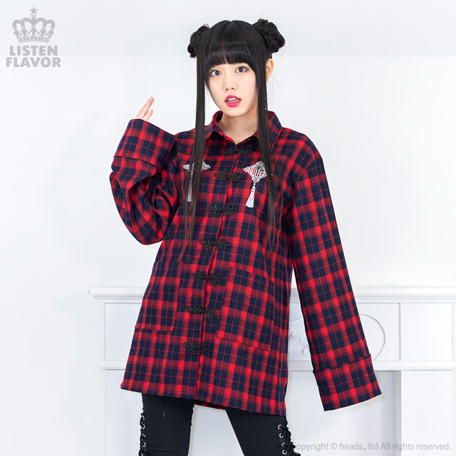 ハッピーフォーチュンチャイナシャツ【RED CHECK】/リッスンフレーバー [原宿系ファッション]