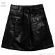 ホログラフィックレザー台形スカート【BLACK】/リッスンフレーバー [原宿系ファッション]