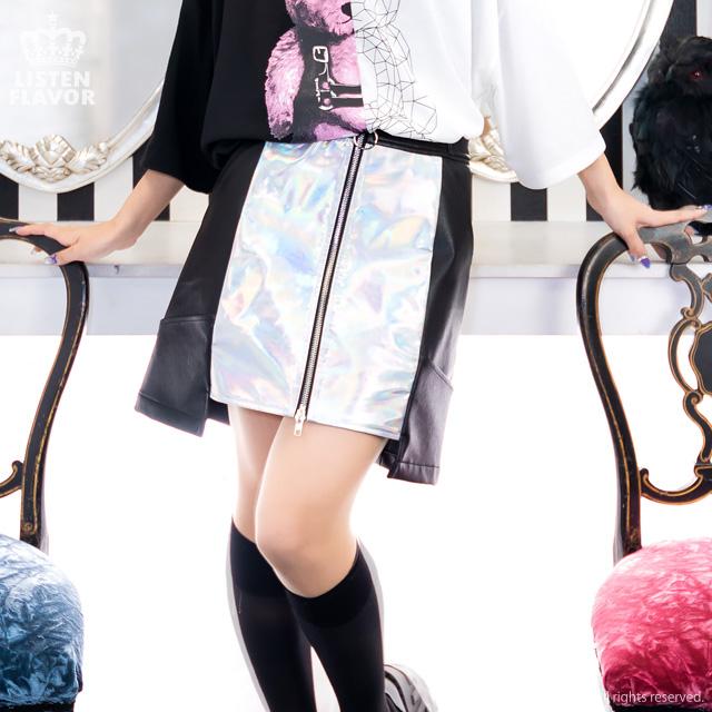 ホログラフィックレザー台形スカート【PURPLE】/リッスンフレーバー