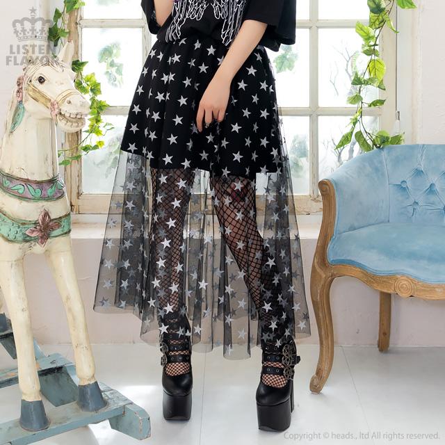 スターチュールレイヤードスカート【BLACK】/リッスンフレーバー [原宿系ファッション]
