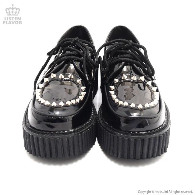CREEPER-108 エナメルハートクリーパーシューズ 【BLACK】/ DEMONIA(デモニア) [原宿系ファッション]
