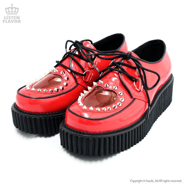 CREEPER-108 エナメルハートクリーパーシューズ 【RED】/ DEMONIA(デモニア) [原宿系ファッション]