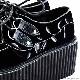CREEPER-219 薔薇刺繍ベルベットクリーパーシューズ 【BLACK】/ DEMONIA(デモニア) [原宿系ファッション]