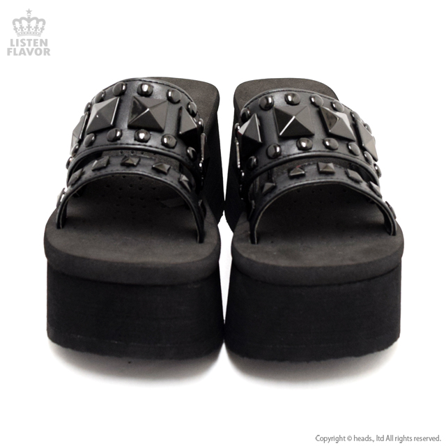 FUNN-18 ブラックスタッズ厚底サンダル 【BLACK】/ DEMONIA(デモニア) [原宿系ファッション]