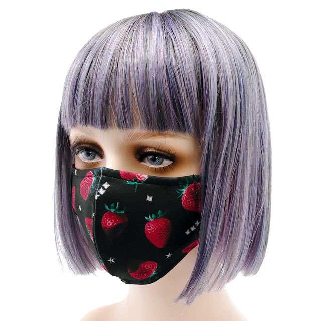 ストロベリーチョコレート総柄ファッションマスク 【いちご総柄BLACK】/ リッスンフレーバー