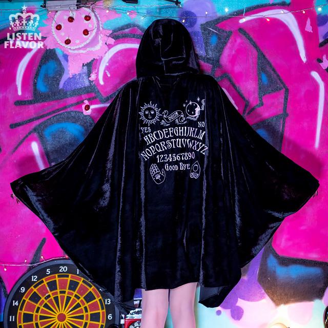 ウィジャボード ベロアフードポンチョ 【BLACK】/リッスンフレーバー [原宿系ファッション]