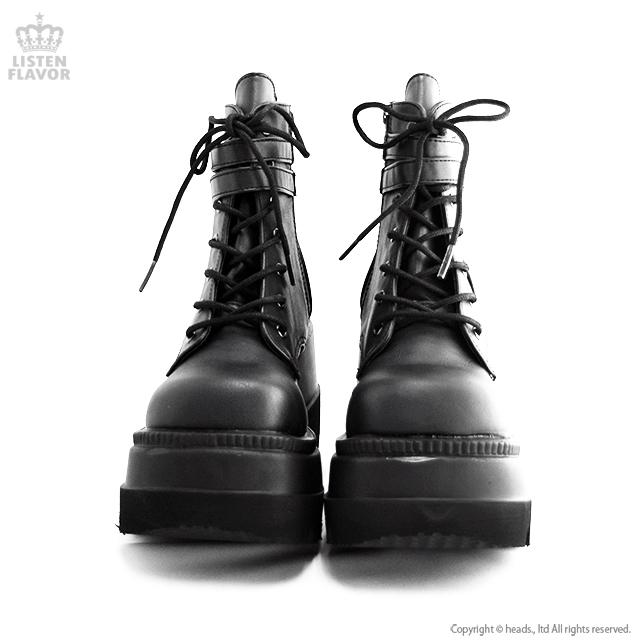 SHAKER-52 ベルト付きウェッジソールブーツ/ DEMONIA(デモニア) [原宿系ファッション]