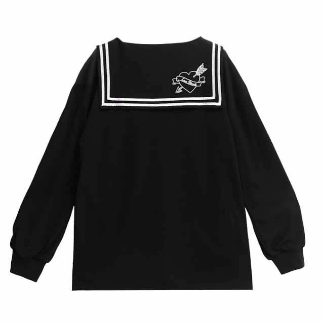 ハートベアセーラートップ 【BLACK】/リッスンフレーバー