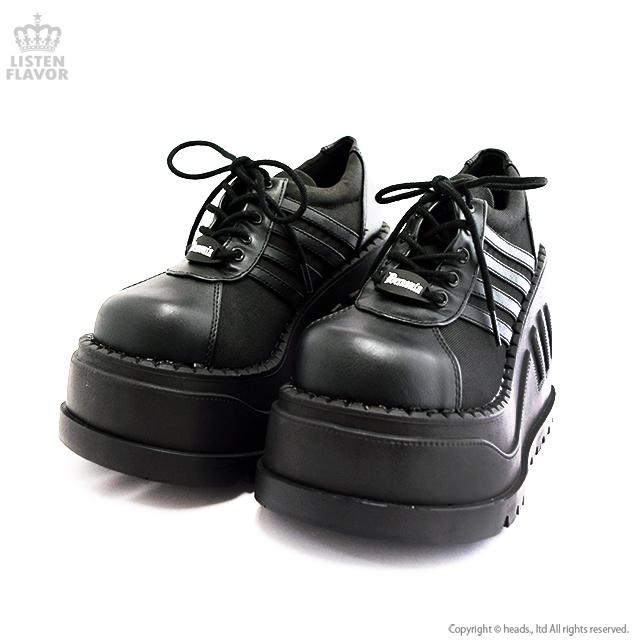 STOMP-08 ラインウェッジ厚底ブーツ 【BLACK】/ DEMONIA(デモニア) [原宿系ファッション]