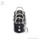 リング4連レザーアーマーリング黒の チェーンリング付【黒×シルバー】/Brindle (ブリンドル)[原宿系ファッション]
