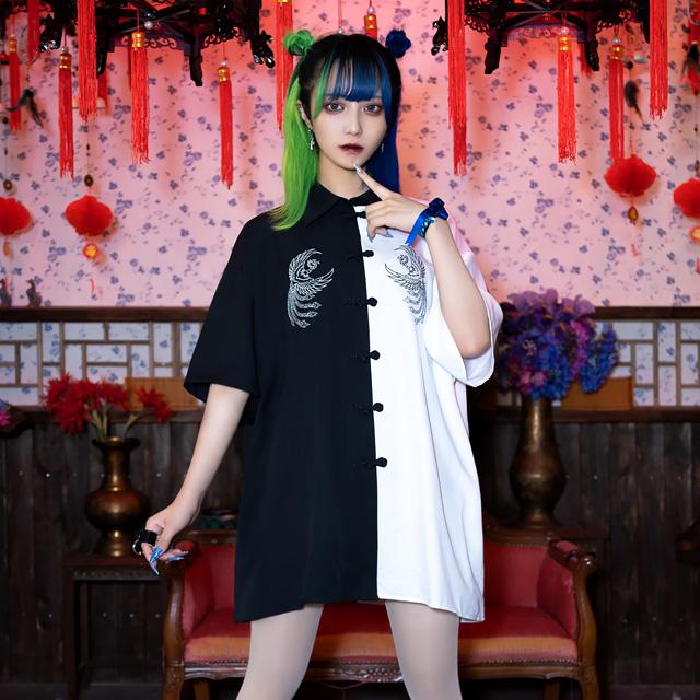 フェニックス刺繍チャイナシャツ 【BLACK】/リッスンフレーバー