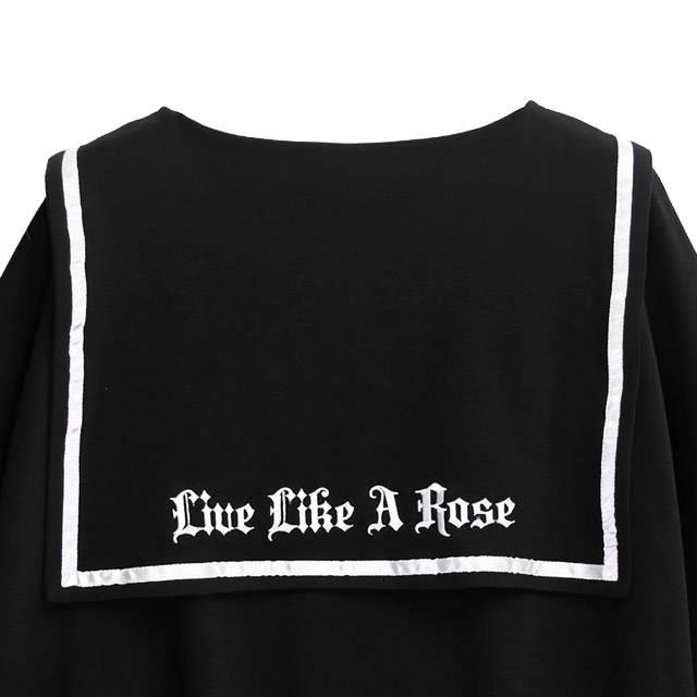 眠れる薔薇のセーラーワンピ 【BLACK】/リッスンフレーバー