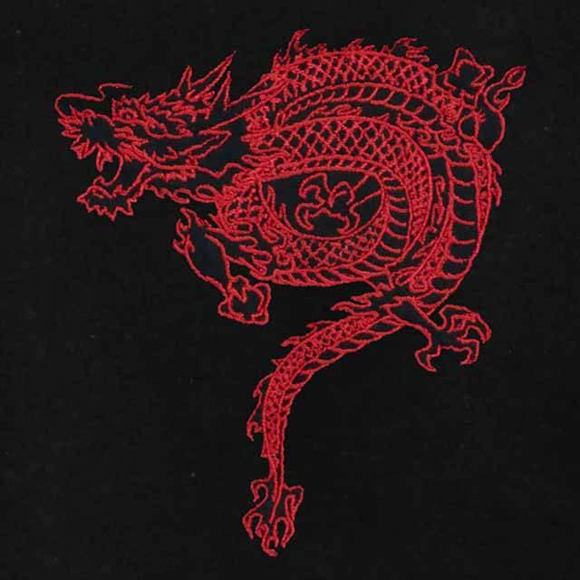 ドラゴンショートチャイナパーカー 【BLACK×RED】/リッスンフレーバー