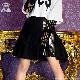 切替ジップイレギュラープリーツスカート【BLACK】/リッスンフレーバー [原宿系ファッション]