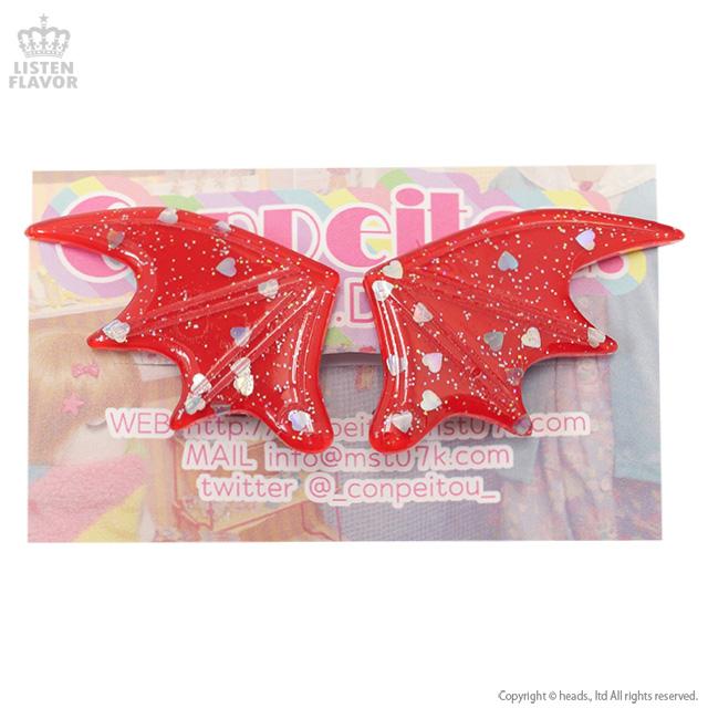 悪魔の羽ヘアクリップ【ラメRED】/Conpeitou.