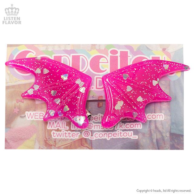 悪魔の羽ヘアクリップ【ラメ蛍光PINK】/Conpeitou.