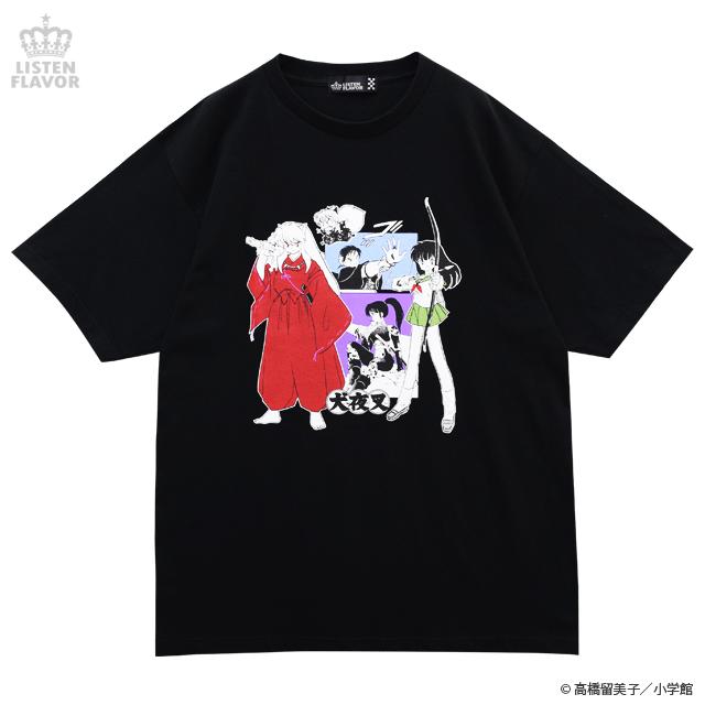 犬夜叉一行BIG Tシャツ【BLACK】 /犬夜叉×リッスンフレーバー