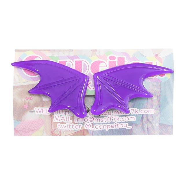悪魔の羽ヘアクリップ 【クリアPURPLE】  /Conpeitou.