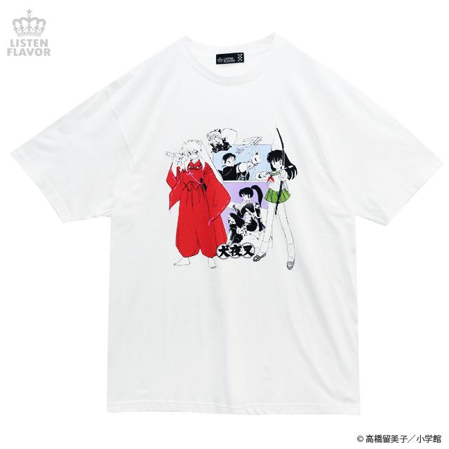 犬夜叉一行BIG Tシャツ【WHITE】 /犬夜叉×リッスンフレーバー