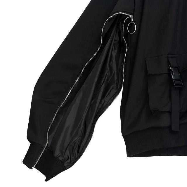 袖ジップスリットフードブルゾン 【BLACK】/リッスンフレーバー