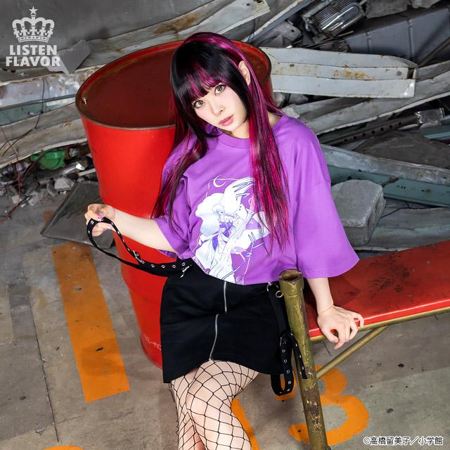 殺生丸BIG Tシャツ【BLACK】 /犬夜叉×リッスンフレーバー [原宿系ファッション]
