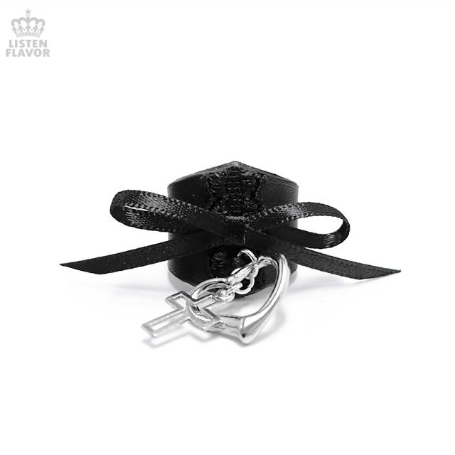 オープンハートクロス付きゴスロリ1連リング 【黒】/Brindle (ブリンドル)