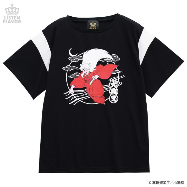 犬夜叉切り替えカットソー【BLACK】 /犬夜叉×リッスンフレーバー [原宿系ファッション]