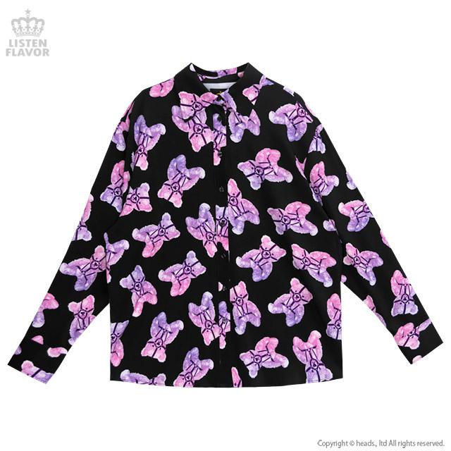 ハーネスベア総柄シャツ 【BLACK×PINK】/リッスンフレーバー [原宿系ファッション]